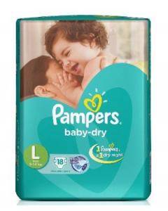 Pampers Baby Dry Diaper L - 18 diapers