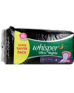 Whisper Ultra Nights 30Pads, Xl Wings, Extra Heavy Flow