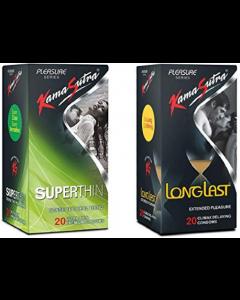 Kamasutra Combo Pack Of Kamasutra Pleasure Longlast Condoms & Kamasutra Pleasure Superthin Condom - Extra Time