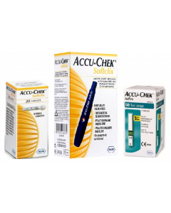 Accu-Chek Softclix Lancing Device with 50 Active Strips & 25 Lancets