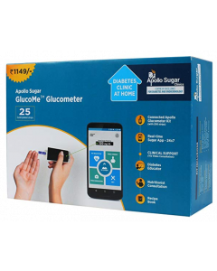 Apollo Sugar GlucoMe Glucometer with 25 Glucome Strips and Diabetes Foot Wear Voucher (Worth Rupees 500)
