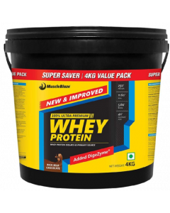 Muscleblaze Whey Protein With Digestive Enzyme Rich Milk Chocolate - 4 kg Powder